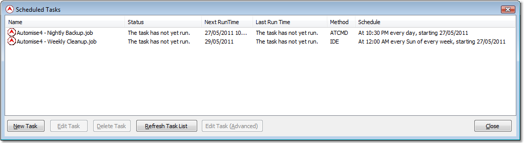 Windows Scheduler support in Automise